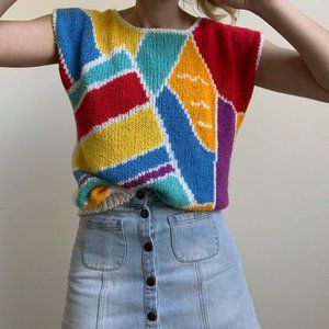 Vintage Tops - Retro Knit Cap Sleeve Tee